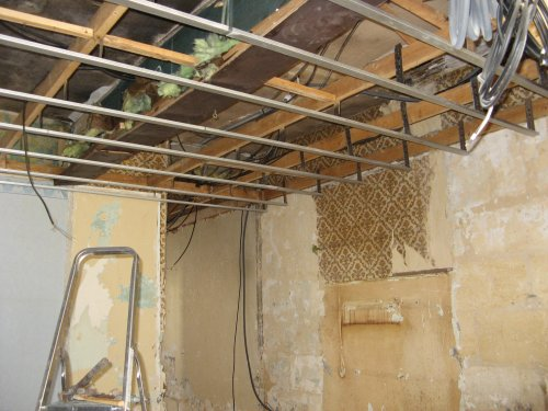 Ma maison mes travaux le debut des travaux for Plafond suspendu ba13